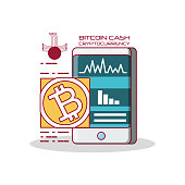 bitcoin cash cryptocurrency design with smartphone icon over white background, colorful design vector illustration
