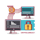 cryptocurrency design with computer transfers bitcoins over white background, colorful design vector illustration