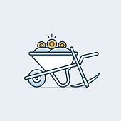 Cryptocurrency mining concept. Pick axe with wheelbarrow and golden coins illustration in monoline style