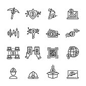 cryptocurrency thin line icon set 3, vector eps10.