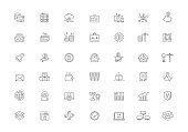 Cryptocurrency, bitcoin mining vector line icons