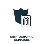 Cryptographic Signature icon. Monochrome style design from crypto currency collection. UI. Pixel perfect simple pictogram cryptographic signature icon. Web design, apps, software, print usage.