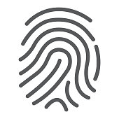 Cryptographic signature line icon, security and identity, fingerprint sign, vector graphics, a linear pattern on a white background, eps 10.
