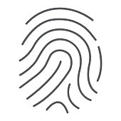 Cryptographic signature thin line icon, security and identity, fingerprint sign, vector graphics, a linear pattern on a white background, eps 10.