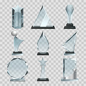 Crystal glass trophy or awards on transparent background. Glass crystal award, blank trophy transparent. Vector illustration