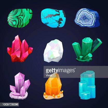 Crystal vector set. Crystalline stone or gem. Precious gemstone. Untreated diamond, malachite, turquoise, quartz : stock vector
