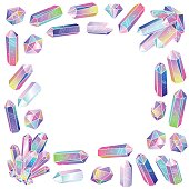 Crystals frame isolated. Multicolored gradient colorful gemstones. Vector illustration.
