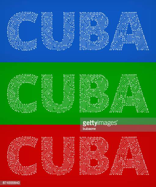 Cuba Circuit Board Color Vector Backgrounds