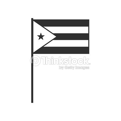 Cuba Flag Icon In Black Outline Flat Design Stock Vector Thinkstock