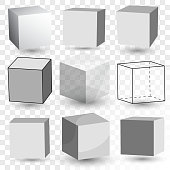 Cube Realistic set with perspective, blank white plastic cubes, white blank boxes, empty transparent glass block model, paper cardboard box. Vector