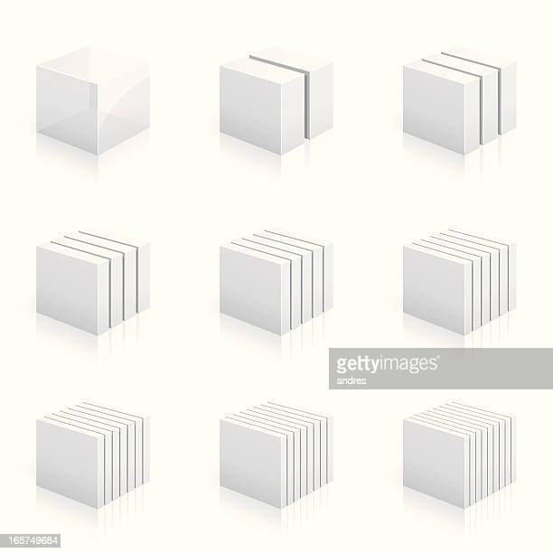 Cubes divided into two to nine columns - 3D series