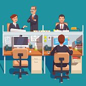 Cubicle office work space with employees at the desks. Flat style modern vector illustration.