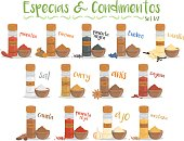 Set of 13 different culinary species and condiments in cartoon style. Set 1 of 2. Spanish names.
