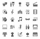 Vector icons with pictures of objects and subjects of culture and art. Grey figures on a white background.