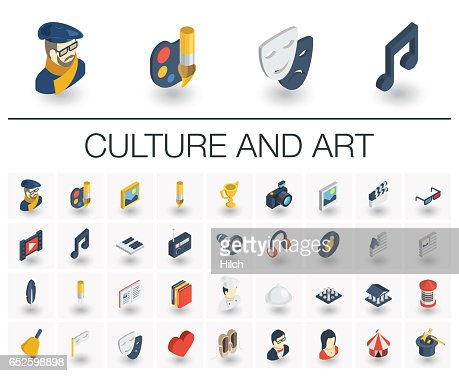Culture and art isometric icons. 3d vector : Arte vettoriale