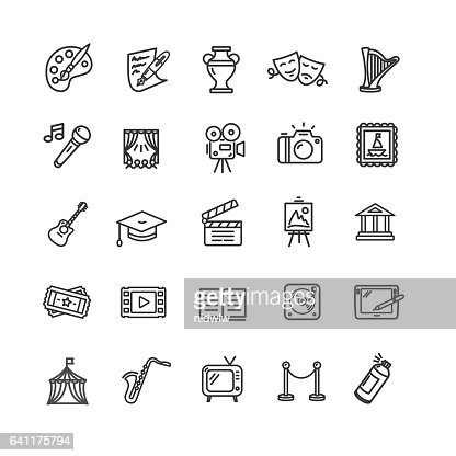 Culture and Creative Fine Art Icons Set. Vector : Arte vettoriale