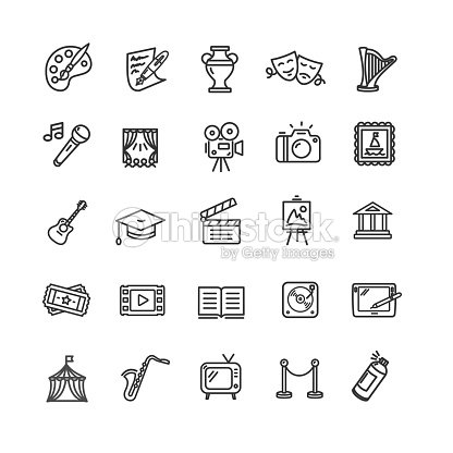Culture and Creative Fine Art Icons Set. Vector : stock vector