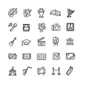 Culture and Creative Fine Art Line Icons Set Element Design for Web. Vector illustration