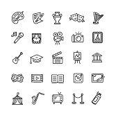 Culture and Creative Fine Art Line Icons Set Element Design for Web. Vector illustration