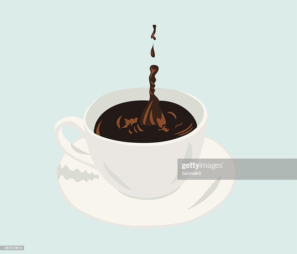 Cup Of Coffee With A Splash Drop Tasse Kaffee Tropfen Vector Art ...