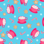 A cup of hot cocoa with candy cane and gingerbread star. Seamless pattern for Christmas and New Year