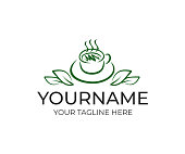Cup tea with leaves, design. Hot drinks, beverage and coffee, cafe and restaurant, vector design and illustration