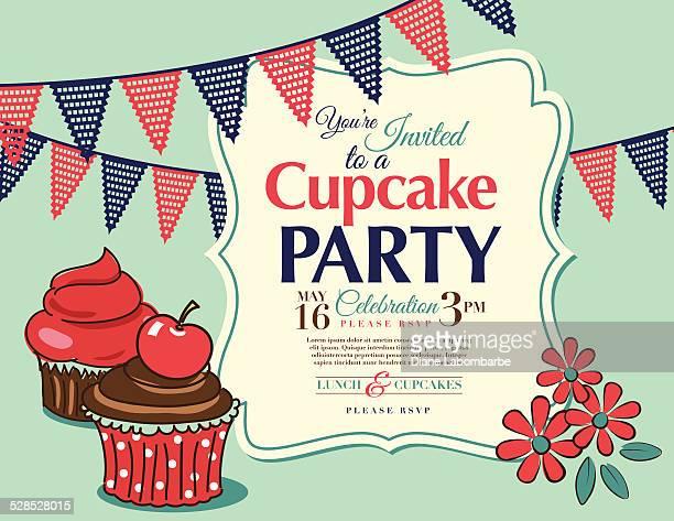 cupcake party invitation template in aqua horizontal