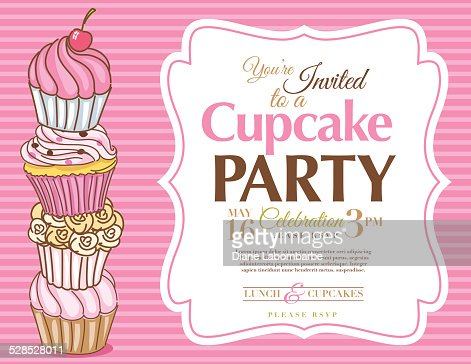 cupcake party invitation template in pink horizontal vector art
