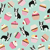 A cute semaless pattern with different colorful cupcakes and a little boston terrier dog