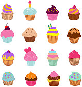 Cupcakes illustration vector. Vanilla chocolate and cherry muffin set. Cake with cream, dessert food to birthday