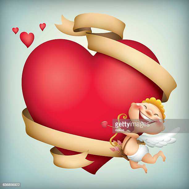 cupid and valentine heart with ribbon