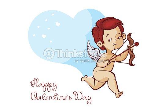 Amor Jagd Mit Pfeil Und Bogen Die Herzen Fliegen Valentinstag Karte