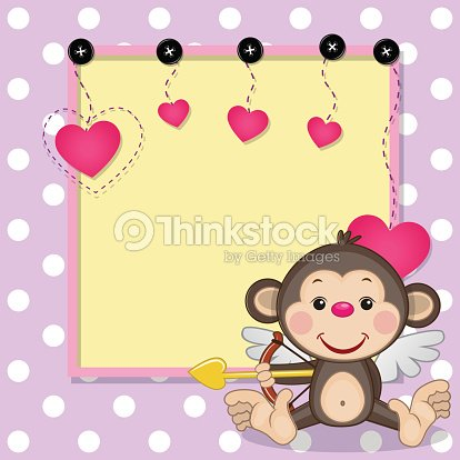 cupid monkey with frame vector art - Monkey Picture Frame