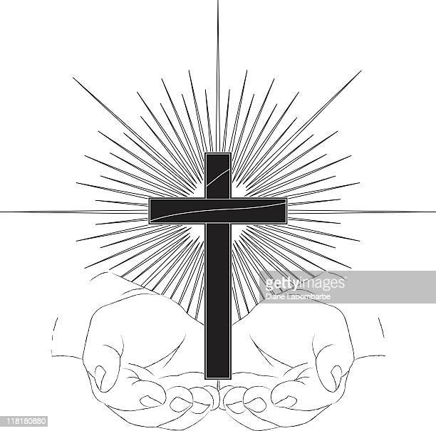 Cupped Hands Holding Cross with Starburst Line Drawing B&W
