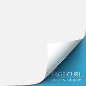 Curled corner of white paper with shadow on blue background. Realistic vector paper page with curl corner and blank space for text