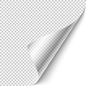 Curled corner with shadow on transparent background realistic vector illustration. Ready to apply to your design.