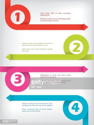 Curling color arrow infographic design : Vector Art