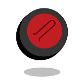 Curling sport stone logo vector line 3d icon