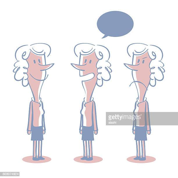 Curly Hair Sharp Nose Businesswoman Doodle Emotion, Talking, Smiling, Angry