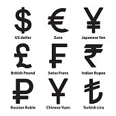Currencies symbol icons set. Vector. eps10