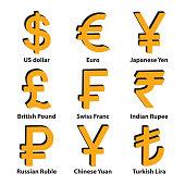 Currencies symbol icons set. Vector. eps10