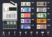 A set of global currency's with a cash register from top view.