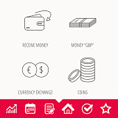 Currency exchange, cash money and coins icons. Receive money linear sign. Edit document, Calendar and Graph chart signs. Star, Check and House web icons. Vector