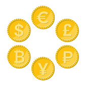 Currency flat icon set. Euro, dollar, bitcoin, yuan, ruble and pound sterling golden vector coins