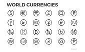 Currency Icons. Dollar, Euro, Yuan and other symbols. 48x48. Editable line.