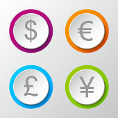 Currency icons - set of 3d button isolated on white background. Vector.
