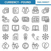Professional, pixel perfect icons depicting various british pound, currency and money concepts.