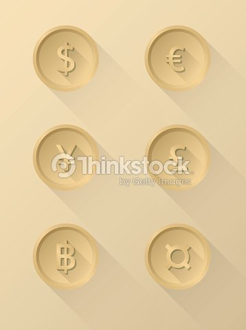 Currency Symbol Icons Dollar Euro Yen Pound Baht Vector Art Thinkstock