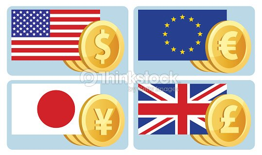 Currency Symbols Dollar Euro Yen Pound Sterling Flags Of The Usa The