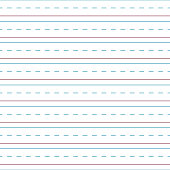 Blue and red lines and dashed lines of cursive handwriting tablet paper seamless pattern